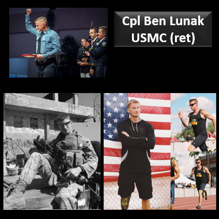 POST-TRAUMATIC WINNER:  LCpl Ben Lunak, USMC (ret) — an IED, an amputation, nightmarish survivor guilt, booze — AND HE BEAT ALL OF IT!